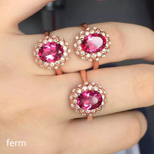 KJJEAXCMY boutique jewelry  925 pure silver inlaid natural pink topaz ring fashion new sunflower style