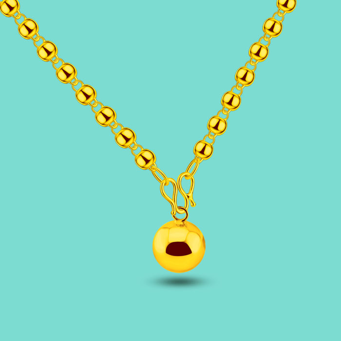 Simple style female models gold bead necklace 24k gold bells pendant design long necklace multi-size sweater necklace best gift