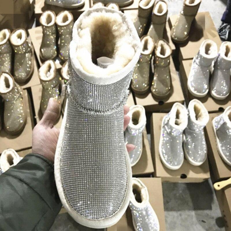 Avec Strass Chaussures Chaud Femmes Noir Mouton D'hiver Plate Peluche Neige argent Cheville Bottes multi forme Australie De Fourrure En Nouveau or Peau zqnSxdz