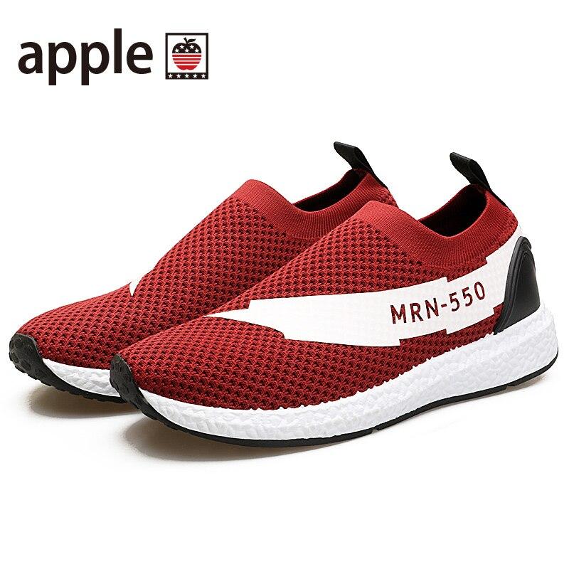 APPLE2017 Nyári új stílusú férfi futócipő lélegző könnyűszárnyú szövött gumi talpas sportcipő kényelmes lélegző cipő
