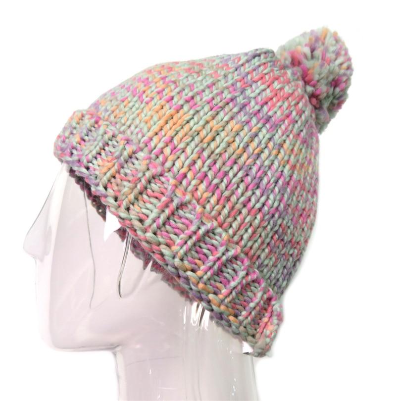 Pleteni zimski klobuk za ženske Pompom Ball Cute Baby Beauns Island - Oblačilni dodatki - Fotografija 6