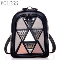Fashion Patchwork Mini Women Backpack Pu Leather Backpack For Teenager Girls Luxury Travel Backpack Women Bags