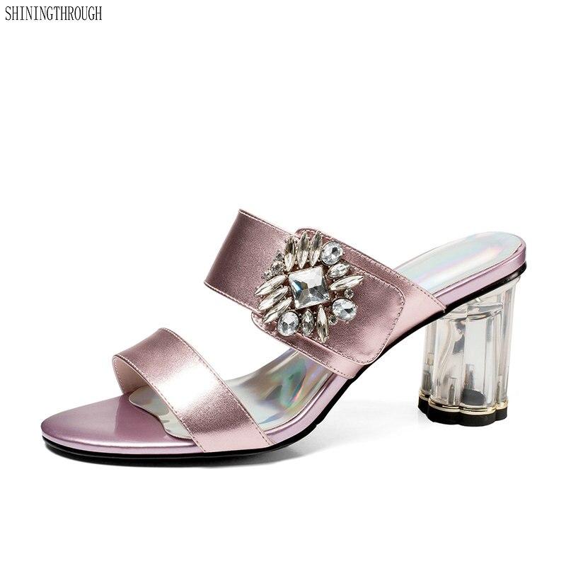 ของแท้หนังรองเท้าแตะรองเท้าผู้หญิงส้นสูงสไลด์ Mules รองเท้ารองเท้าหนังฤดูร้อนรองเท้าแตะ-ใน รองเท้าส้นสูง จาก รองเท้า บน   1