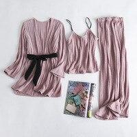 Thick Cotton Cami+Pants+Robe Home Wear Autumn Winter Sleepwear Set Women 3PCS Pajamas Pijama Suit Warm Nightwear Pyjama M XL