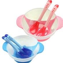 Набор из 3 предметов, обучающая посуда для малышей с присоской, миска для еды, ложка для измерения температуры, детская посуда, детская посуда, ложка+ вилка