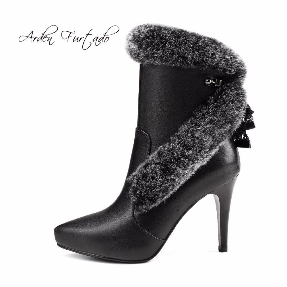Chaussures Réel 2017 Femme Haute Stilettos Neige black forme White Véritable Cuir Mode 10 Plate Fourrure Bottes Talons En Furtado Cheville Dames De Arden Cm 54q3LRjA