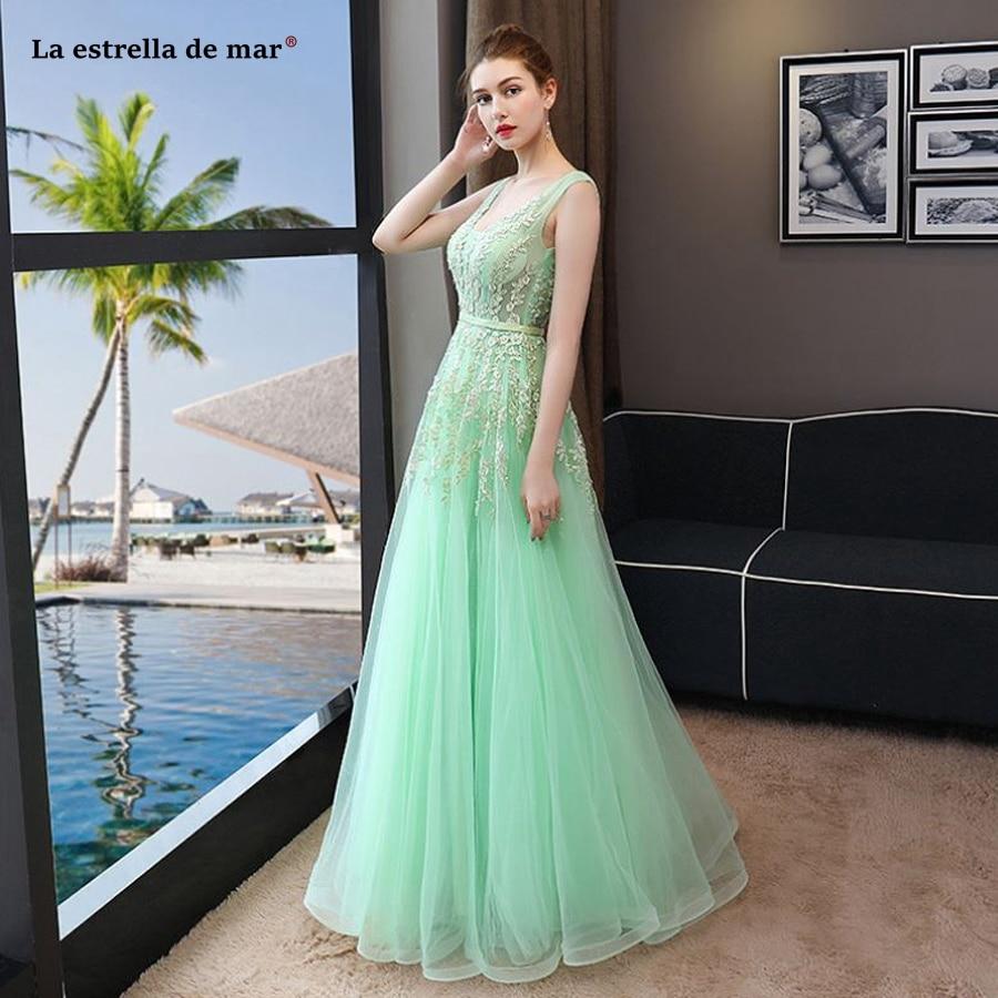 Vestidos de festa vestido longo para casamento2018 new lace sexy V neck back open a Lline mint green   bridesmaid     dresses   cheap