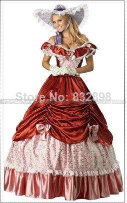 Robe de bal longue au sol naturel dentelle expédition coloniale guerre civile Scarlett/sud Belle Lolita Cosplay robe de bal
