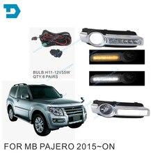 цена на Dual Color Daytime Running Driving Light for montero v98 led DRL Turn Signal Function for pajero v97 v93 2015-2019 fog lamp set
