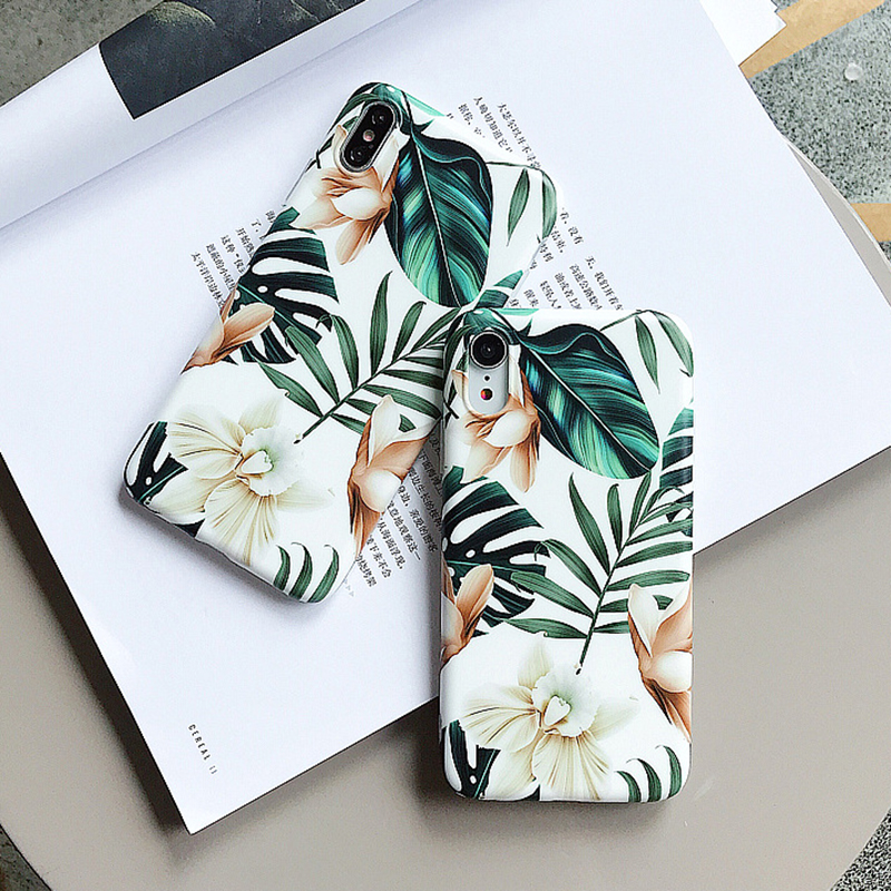, LOVECOM Art Flowers Leaf Phone Case For iPhone XS Max Case For iPhone X XR 6 S 7 8 Plus Back Cover Fashion IMD Cases Retro Capa