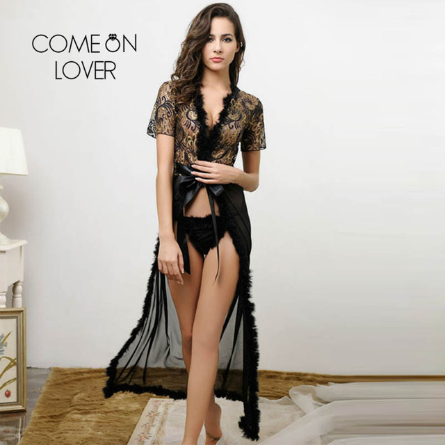 Comeonlover Sheer Lace Kaftan Robe With Thong Plus Size Lenceria Sexi Para Mujer Embroidery Plus Size Sexy Lingerie Hot RI80068 2