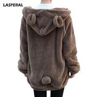 LASPERAL Faux Fur Plush Hooded Hoodies Women Cute Rabbit Ear Cartoon Autumn Winter Basic Zip Up
