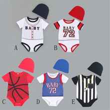 hort Sleeve Sports Baby Girls Rompers Fashion Leisure Football Basketball Summer Baby Boy Clothes with cap