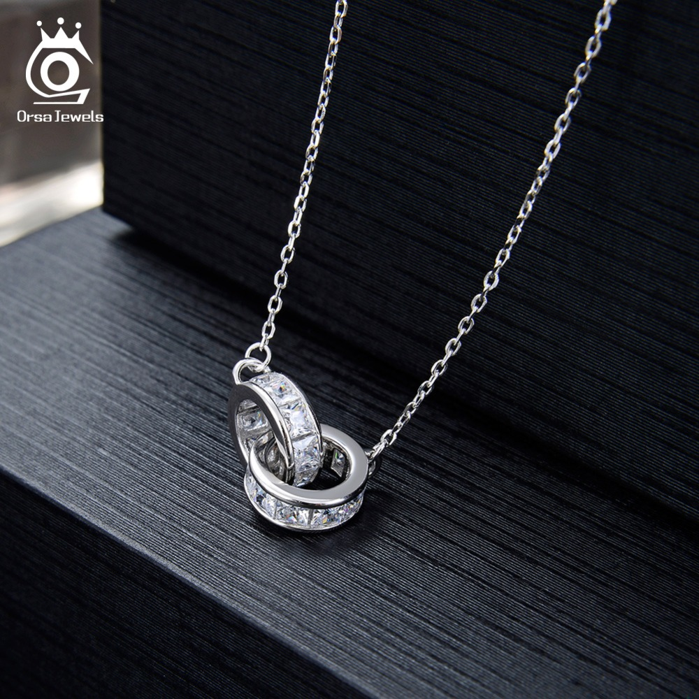 Image 2 - ORSA JEWELS 100% Real 925 Woman Twice Round Pendants Necklaces Sterling Silver Double AAA CZ Stylish Female Party Jewelry SN137-in Necklaces from Jewelry & Accessories