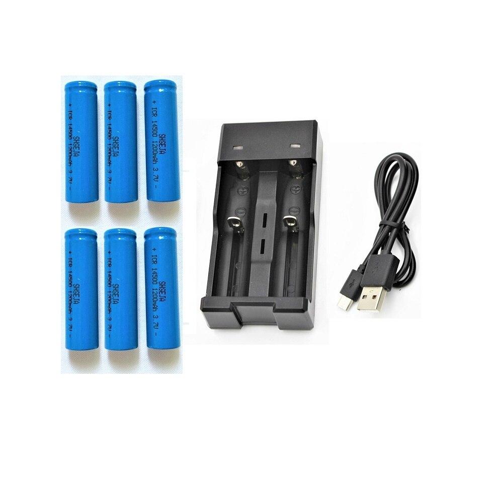 Powerf 6 pièces ICR14500 1200 mAh 3.7 v rechargeable li-ion Batteries lampe de poche LED Plat + 3.7 V 18650 14500 USB Chargeur De Batterie