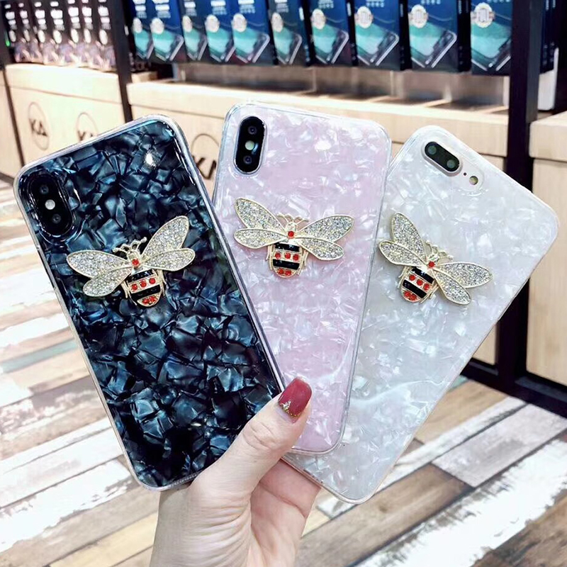 Luxury Rhinestones Bee Case For iPhone 7 6 6S 8 Plus Geometric Texture Colorful Conch Clear TPU Cover Back For iPhone X 8 6 6S 7
