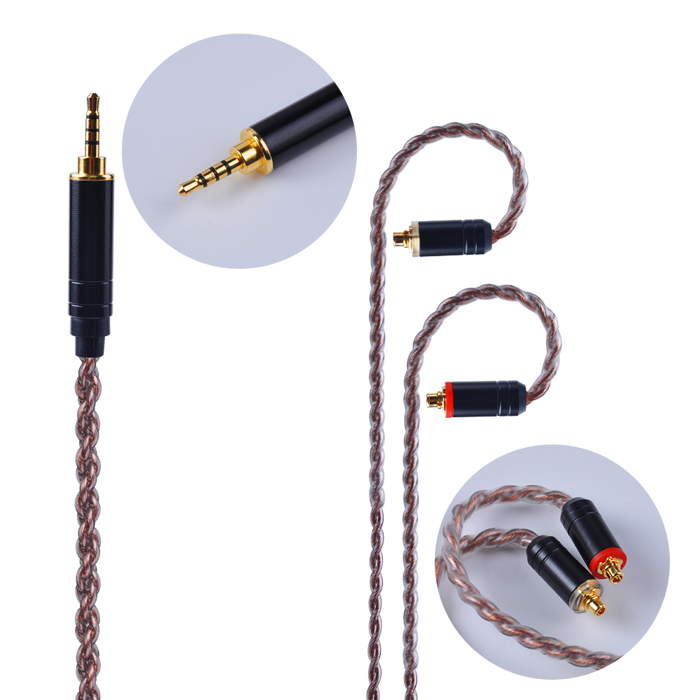 Yinyoo 4 Core Silver Plated Copper Cable 2.5/3.5mm Balanced Cable With MMCX/2pin Connector For HQ8 HQ6 KZ AS10 ZS10 ZS6 SE846
