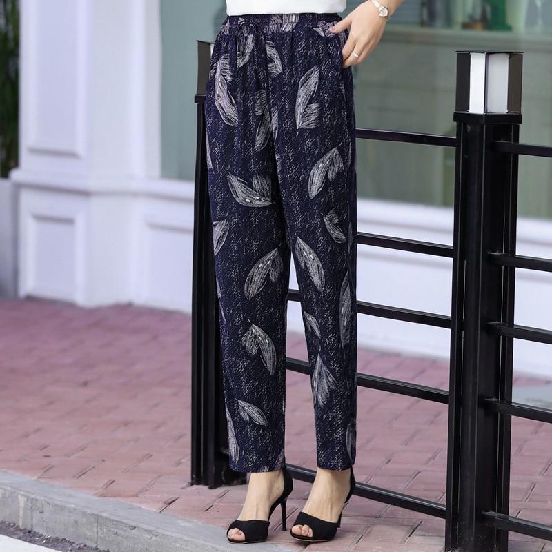 Summer Beach Harem   Pants   Women High Waist Casual Bloomers Printed Loose Lace Up Trousers Women Elastic Waist   Wide     Leg     Pants   5XL