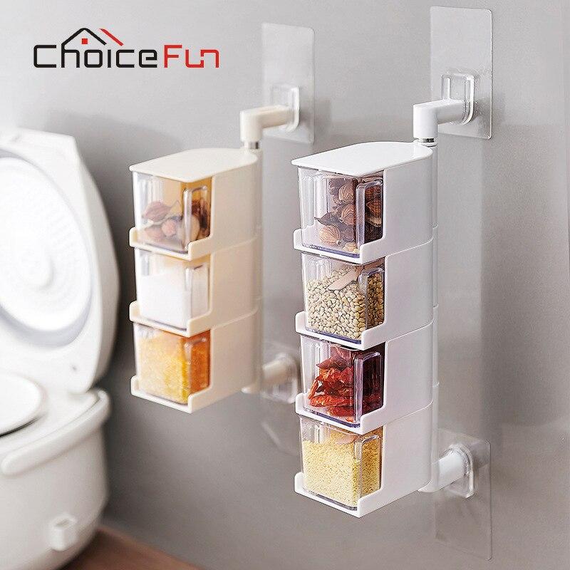 Elección divertido Vintage acrílico giratorio de la especia de la cocina contenedor de almacenamiento de pared Pared de plástico transparente conjunto tarro de especias para especias