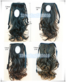 Medium length18 Inches wavy Ponytail Hair Extension  black Curly Ponytail 4 Colors