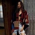 Edição de alta qualidade venda quente das mulheres capa e capa xadrez cobertor manto Poncho cabo casacos casaco xale frete grátis