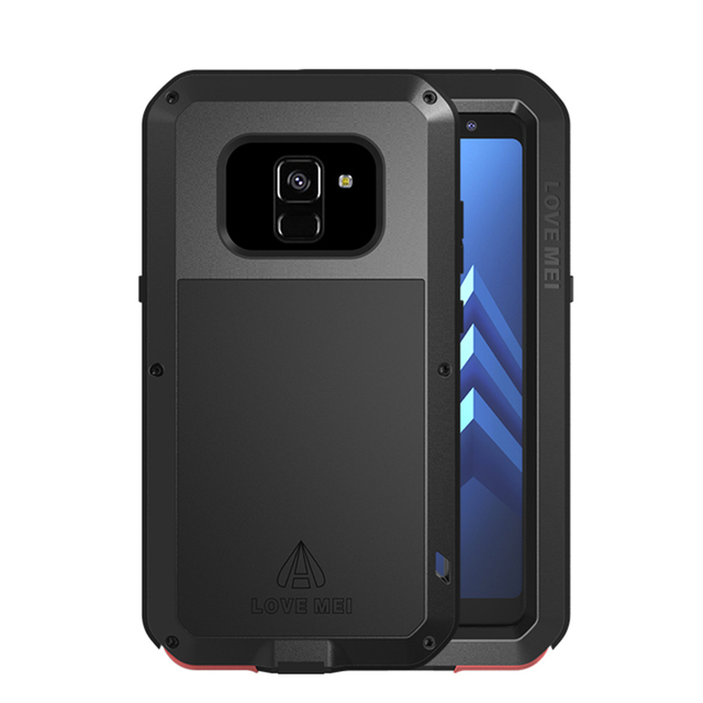 timeless design a38c5 8eefd US $32.94 |Shockproof For Samsung Galaxy A8 2018 Case A8+ Plus 360 Full  Protect Metal Frame Luxury Armor Cover Tempered Glass Armor -in Fitted  Cases ...