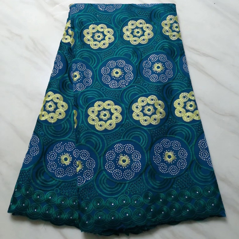 Free shipping (5yards/pc) Teal green African cotton lace fabric new design Swiss voile lace with embroidery for dress CLS224Free shipping (5yards/pc) Teal green African cotton lace fabric new design Swiss voile lace with embroidery for dress CLS224