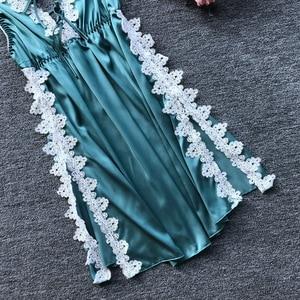 Image 4 - Daeyard סקסי משי הלבשה תחתונה תחרה נשים הלבשת אלגנטי אפליקציות לילה שמלה כתונת לילה סקסי גבוה פיצול Nightwear Slim Homewear