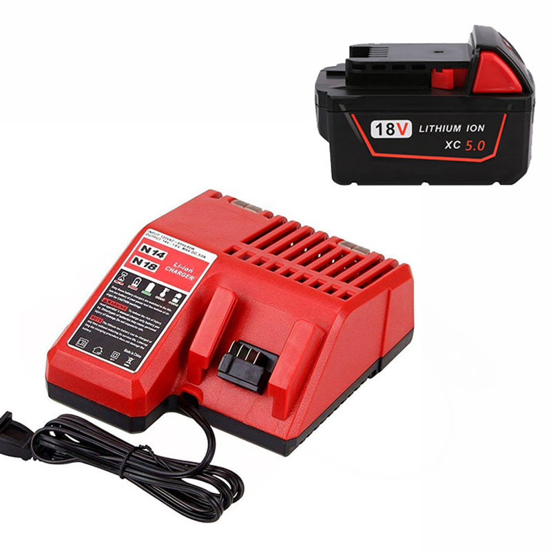 With Charger 5000Mah 18V Li-Ion Replacement Power Tool Battery For Milwaukee For M18 Xc 48-11-1815 M18B2 M18B4 M18Bx,Eu Plug