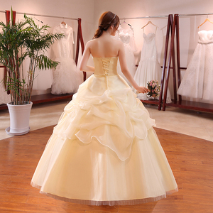 Image 2 - Hot Sale Wholesale Champagne Red White Wedding Dress 2018 New Arrival Ruffles Appliques Sweetange Korean Style bride Summer