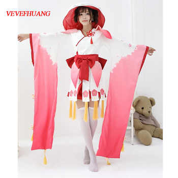 VEVEFHUANG  Women's Japanese Cartoon Anime Onmyoji Cosplay Costume The Peach Blossom Banshee Vantage Kimono Fancy Dress Uniform - DISCOUNT ITEM  35% OFF All Category