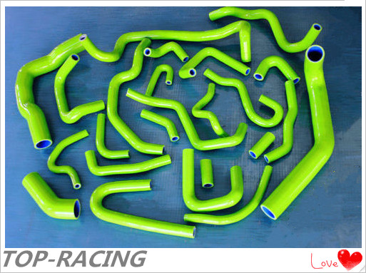 Green reinforced radiator ancillary silicone hose for Nissan Silvia 180SX 200SX S13 CA18DET 1989 1994