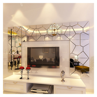 Wholesale new 4 sets mirror stickers living room bedroom decorative geometric patterns 3d acrylic mirror wall sticker
