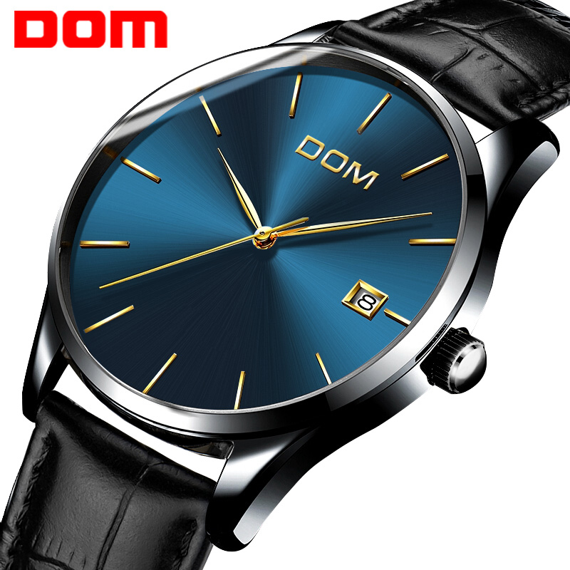 watch men DOM Top Brand Luxury Quartz watch Casual Black quartz-watch stainless steel Mesh strap ultra thin clock male M11BL-2M luxury brand watches men quartz clock wach ultra thin stainless steel mesh strap gold wristwatch box waterproof sport watch men