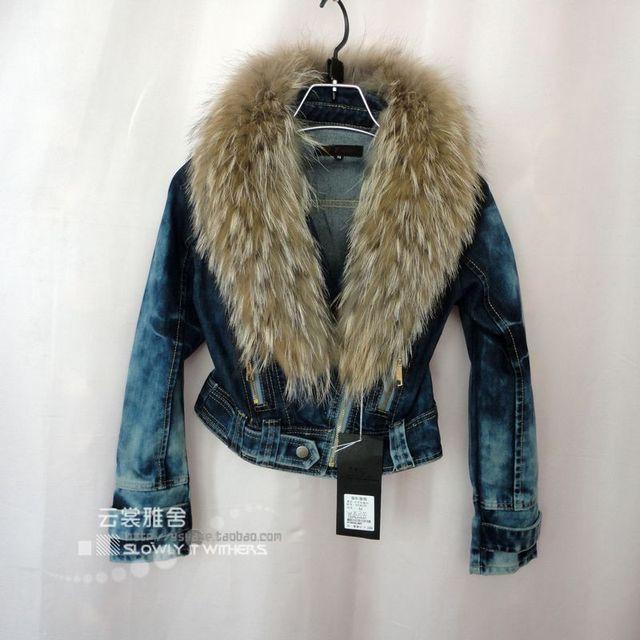 Осенние дамы меховой воротник куртка локомотив большой размер джинсовый жакет