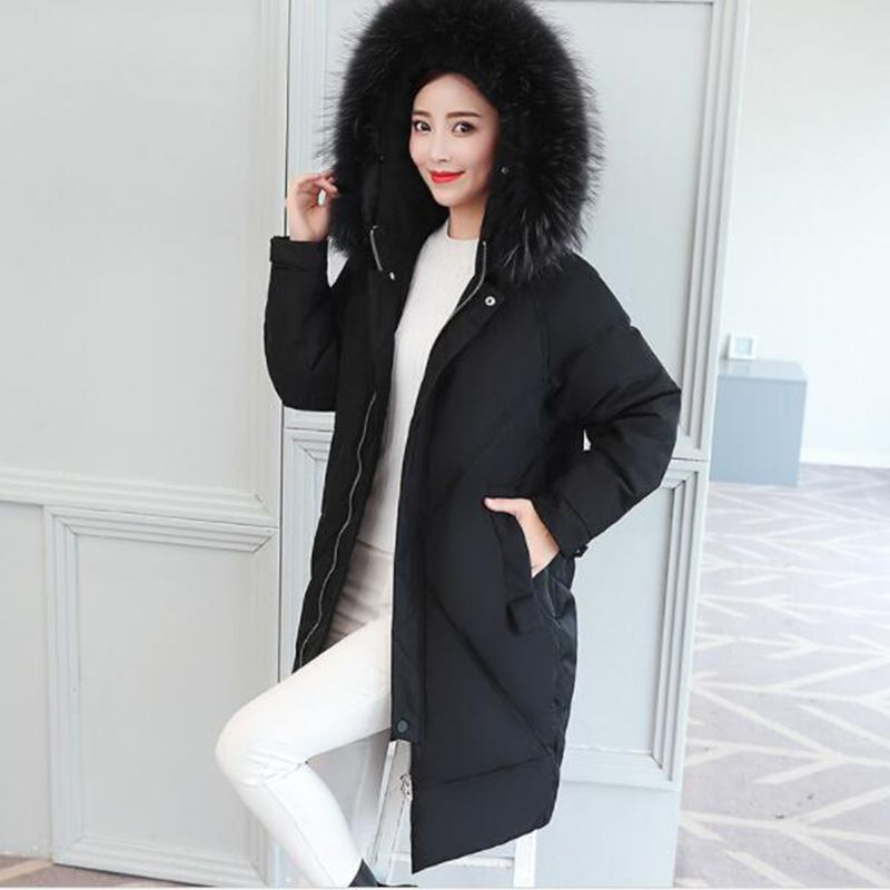 2018 Winter Women 90% White duck   down     Coat   Pure Long parkas Long sleeves Fur collar Hooded parka Thicken Warm Lady Outerwea