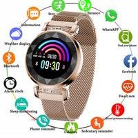 NEW Fashion Lady H2 Smart Watch 3D Rhinestone Glass Heart Rate Blood Pressure Sleep Monitor Best gift for Girl Women Smartwatch