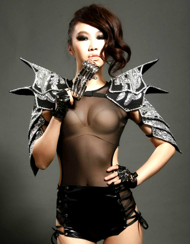 aab73d0084 2018 new sexy costumes female singer ds habergeons armor performance dress  bodysuits one-piece dj suit show free shipping
