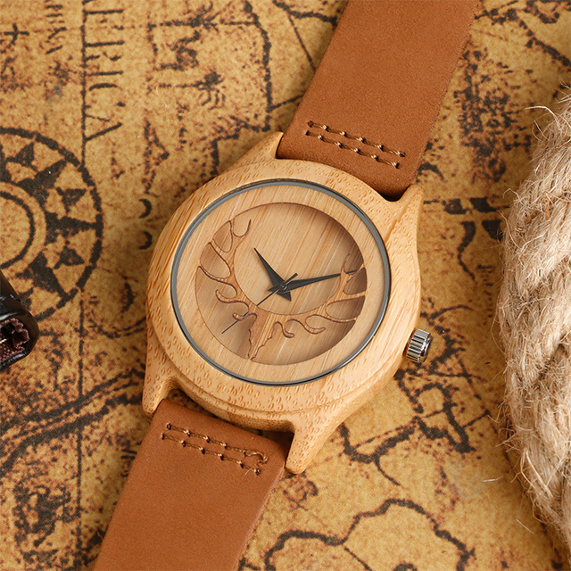 Brand Fashion Men and Women wooden watch quartz watch wood Retro antlers pattern