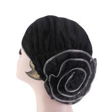 New hot sale Women flower shinny turban metallic Beanie Hat Bonnet Chemo Cap Muslim Scarf Hijab Turban цена в Москве и Питере