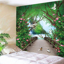 3D Forest Tapestry Wooden Bridge Indian Mandala Tapestry Wall Hanging Tapestries Boho Bedroom Wall Rug Couch Blanket 3 Size sunset wooden bridge waterproof wall tapestry