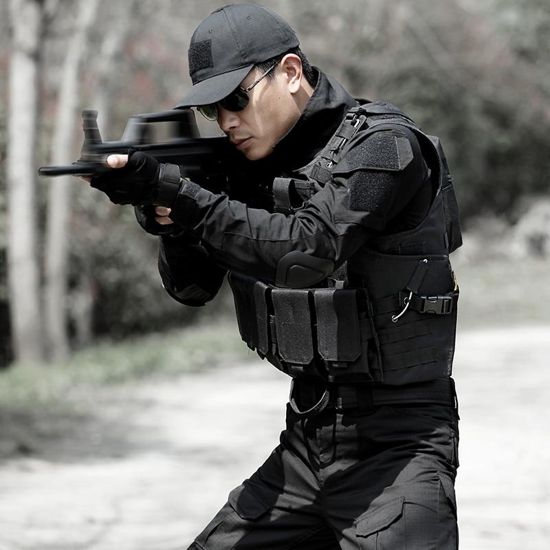 Chaleco de caza de camuflaje para hombre, equipo militar, Airsoft, uniforme militar, Chaleco de combate, Colete Tatico, Chaleco del ejército, negro - 2