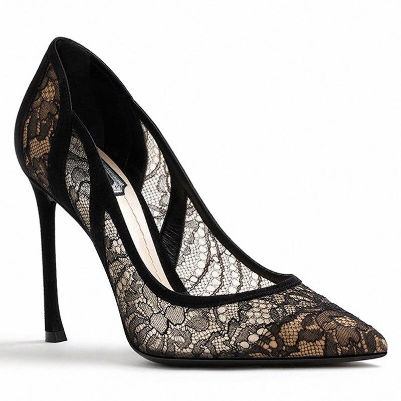 Cuir Pompes Talons Stiletto Maille Robe 1 7 Femmes En Dentelle Hauts Bout Cm Sexy Dames picture Picture Pointu 10 2 Partie Chaussures Noir 80wafp8