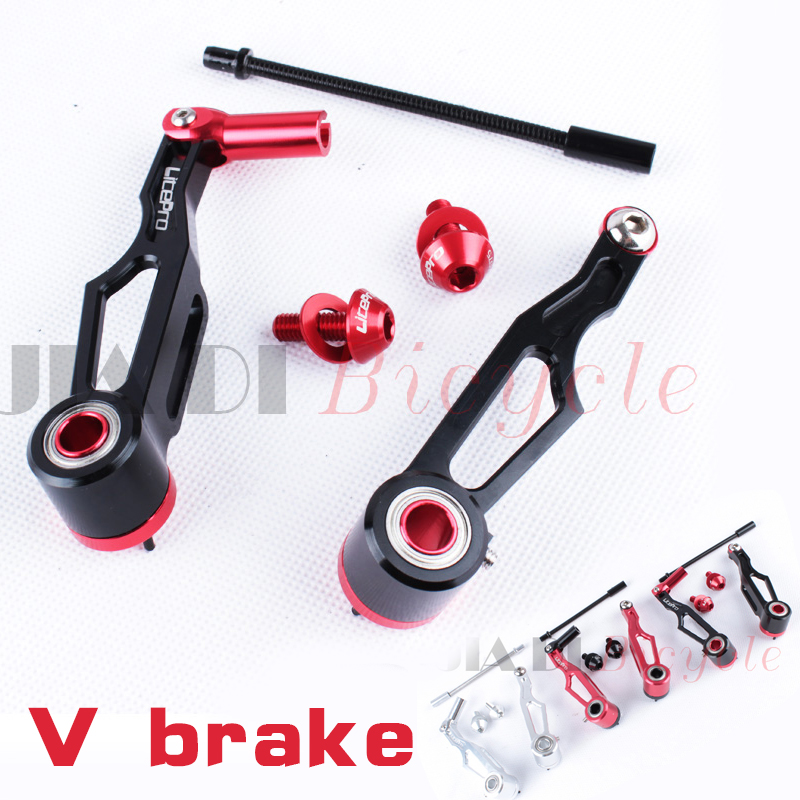 1Pair Bicycle Modified V Brake 7075 Aluminum Alloy Folding Bike Brakes Cycling Accessories Equipment Black Red Silver Brake 155 170 black red removable variable speed color cycle double v brake bicycle