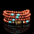 New Natural Gold Sand Stone 108*8MM Buddhist Meditation Prayer Bead Mala Necklace/Bracelet Jewelry For Women And Men