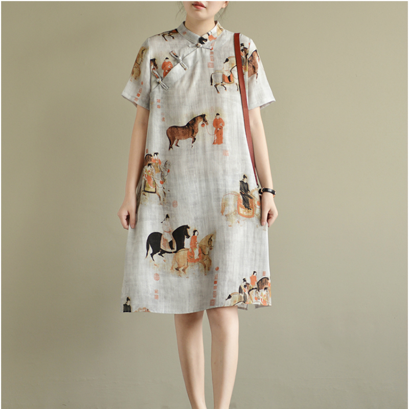 KYMAKUTU Vintage Linen Dress for Women Clothing Chinese Style Print Vestidos Stand Collar Short Sleeve Summer Dresses Female 2XL ...