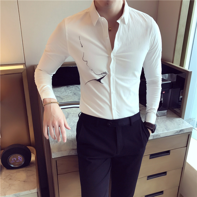 Dress Shirt Men Autumn New Slim Fashion Print White Black Temperament British Wind Social Business Casual Long-sleeved Shirt