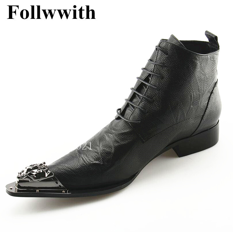 Newest Metal Decor Crystal Studs Pointed Toe Men Boots Lace Up Black Leather Ankle Boots Botas Feminals size 46 red men wedding dress shoes pointed toe ankle boots genuine leather botas hombre cowboy military boots metal decor men flats