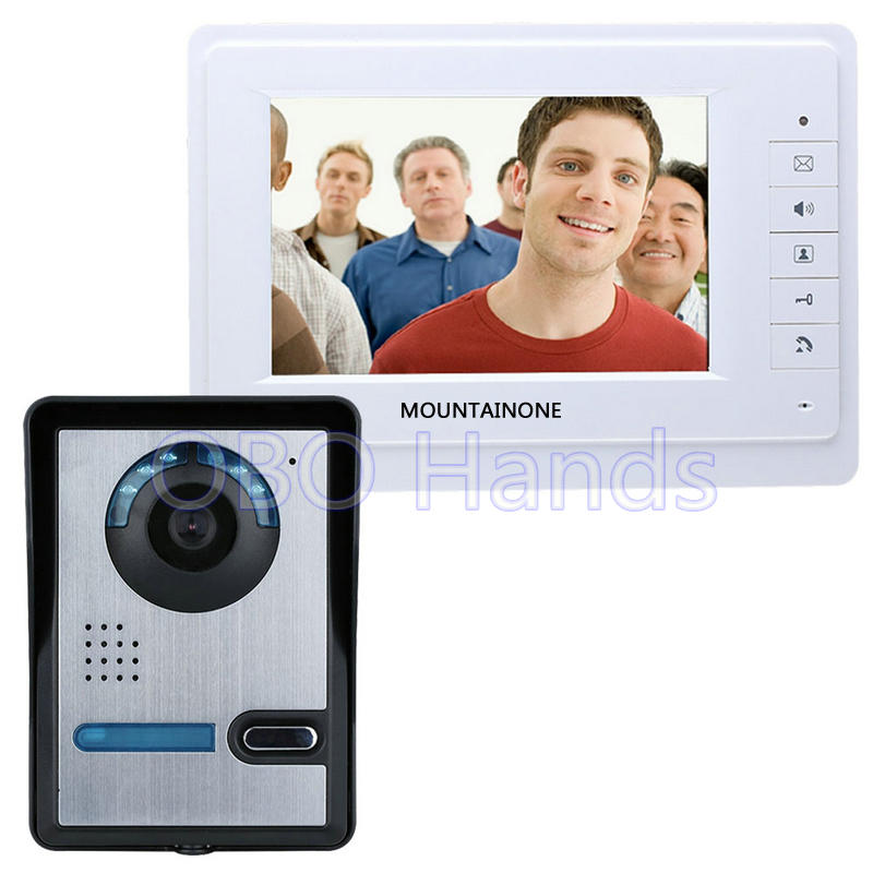 Free shipping 7'' wired color video door phone Intercom system video doorbell kit IR 1 outdoor camera +1 monitor 819FA11 free shipping 7 wired color video door phone intercom system video doorbell kit ir 1 outdoor camera 1 monitor 811fa11