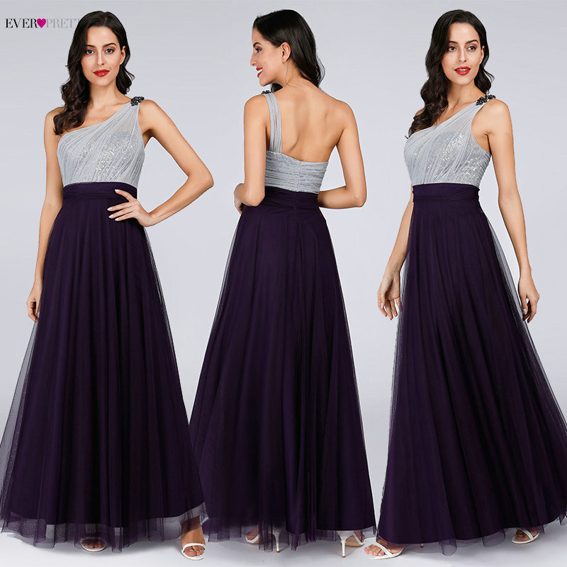 Sexy A Line Evening Dresses For Women Ever Pretty Elegant One Shoulder Sleeveless Backless Sequined Long Formal Party Gowns 2019